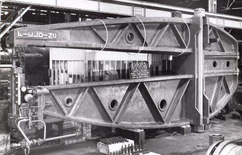 100, 60, 40 ton Fixed Rivetter, 24' Gap, WP 1500 psi, O/No. 5013, c.1945