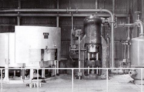 700 ton Vertical 'Serck' type Extrusion Press, views taken on site, O/No. 4895, c.1945