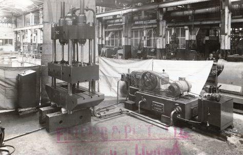40 ton 4 Column Press with H3(?)Hydraulic Pump, O/No. 5167, c.1945