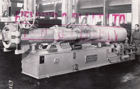 285 ton Carbon Extrusion Press, manufactured by the Hydraulic Press Mfg Co., Ohio, c.1948