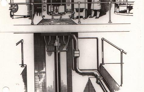Line Illustration of a 'Serck' Vertical Extrusion Press, c.1948