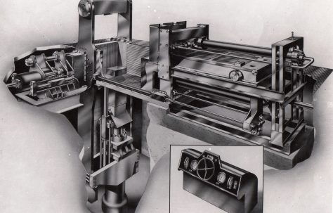 Artists perspective drawing of a Triple-Compression Scrap Baler, c.1949