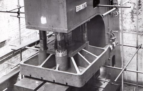 400 ton Open Gap Flanging Press, views during construction and on site, O/No. 6075, c.1948