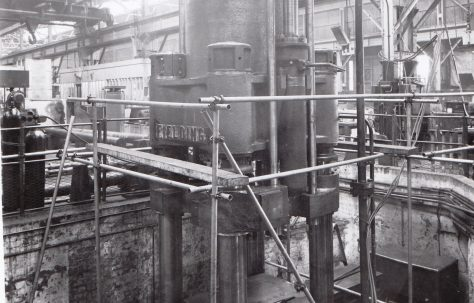 2500 ton Lead Cable Sheathing Press, with view on site in 1954, O/No. 6127, c.1948