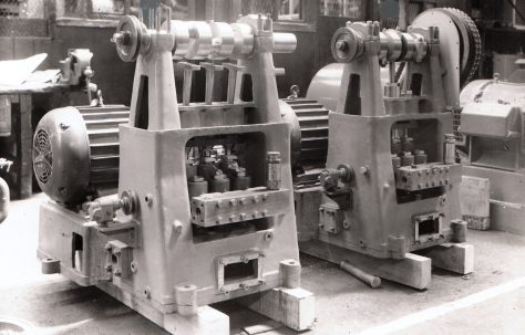 "3"" Stroke Vertical Three-Throw Pumps, under construction, c.1950"
