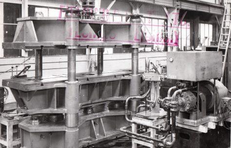 358 ton Vertical Four Column Upstroking Flanging Press, O/No. 6874, c.1951