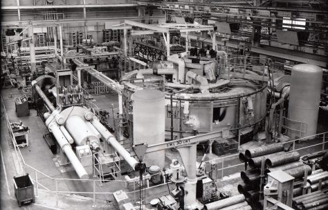 2500 & 1500 ton Back-Extrusion Presses, view taken on site, O/No. 4580 & 4530, c.1953