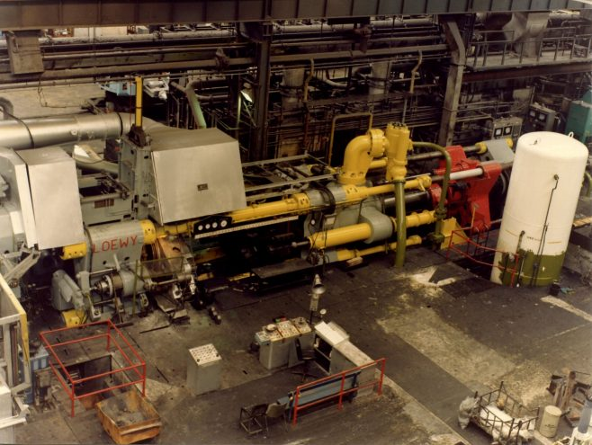 5000 ton Loewy Steel Extrusion Press, taken after first main cylinder change in 1980 (see comments below). | Kindly supplied by David Young