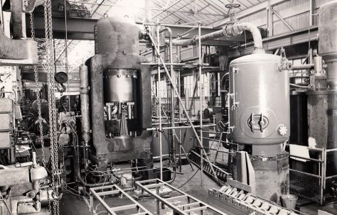 1000 ton 'Serck' Type Vertical Extrusion Press, view taken on site, with extruded copper tubes, O/No. 56100, c.1957