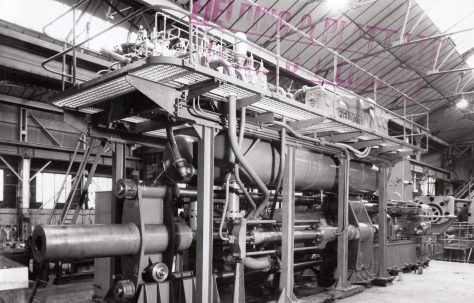 1000 ton Solids Horizontal Extrusion Press, views taken at erection and on site, O/No. 58090, c.1959