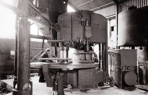 400 ton Three-Mould Slab Press, view taken on site, O/No. 58290, c.1958