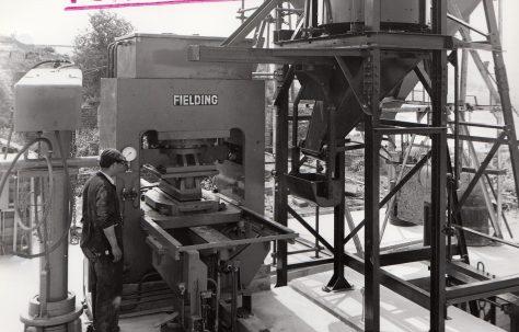 400 ton Single-Mould Slab Press, view taken on site, O/No. 59850, c.1960