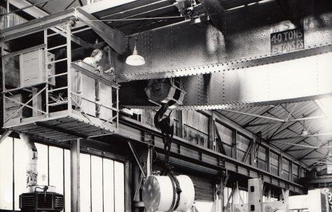 Mrs Freeman at the controls of the 40 ton Overhead Crane