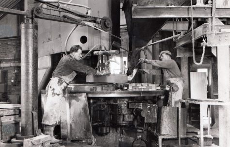 400 ton Three-Mould Slab & Kerb Press, view taken on site, O/No. 61190, c.1961