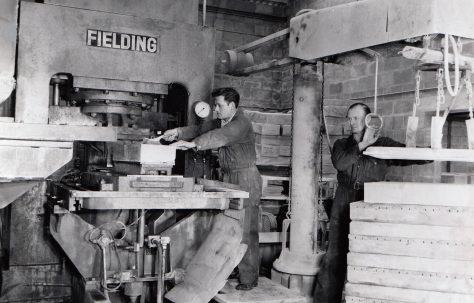 400 ton Single-Mould Slab & Kerb Press, view taken on site, O/No. 59700, c.1959