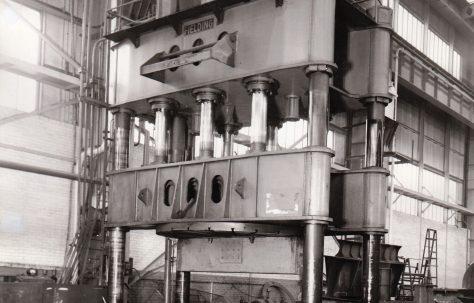 1200 ton Vertical Downstroking Flanging Press, views taken on site, O/No. 57700, c.1957