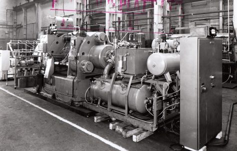 350 ton Solder Extrusion Press, with Pan Coilers, O/No. 63130, c.1963