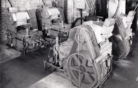 H3 Pumps with overhead mounted motors, views taken on site, O/No. 63210, c.1964