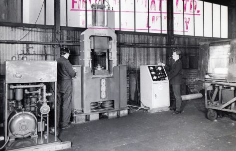 620D 'Dynapak' High Energy Rate Forming Machine, views taken on site, c.1964
