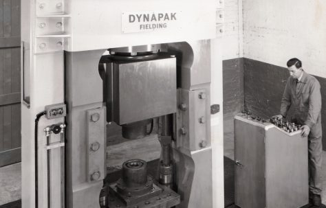1220D 'Dynapak' High Energy Rate Forming Machine, views taken on site showing sequence of operation, O/No. 63760, c.1964