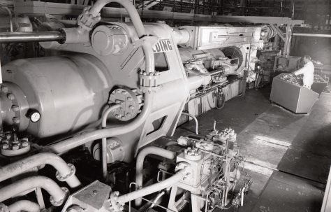 3500 ton Horizontal Extrusion Press, views taken on site during commissioning, O/No. 63360, c.1964