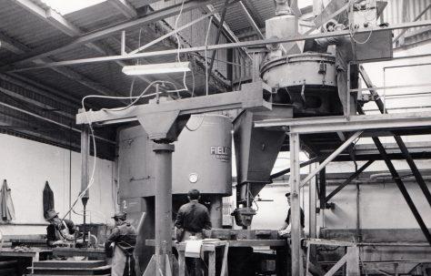 400 ton Three-Mould Slab Press, view taken on site, O/No. 64320, c.1964