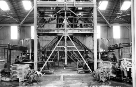 LH & RH Three-Mould Slab Presses, view taken in 1966 on site, O/No. 58160, c.1958