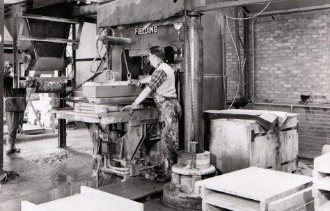 400 ton Single-Mould Slab & Kerb Press, view taken on site in 1964, O/No. 64100, c.1964