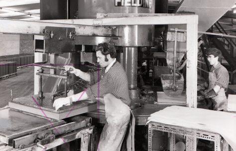 400 ton Two-Column, Three-Mould Slab and Kerb Press, views taken on site, O/No. K70670, c.1968