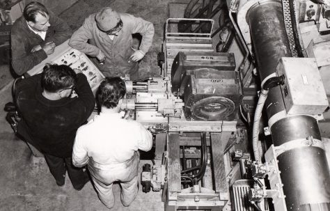 1900 ton Horizontal Extrusion Press, views of rotary die changing system, taken on site in 1969, O/No. E70700, c.1968