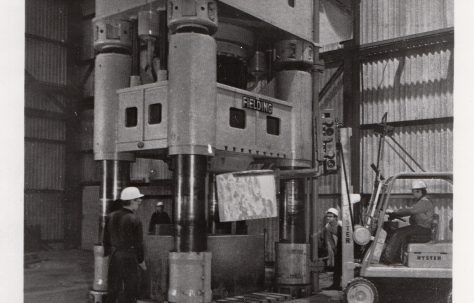 3000 ton Closed Die Forging Press, view taken on site, O/No. 67710, c.1969