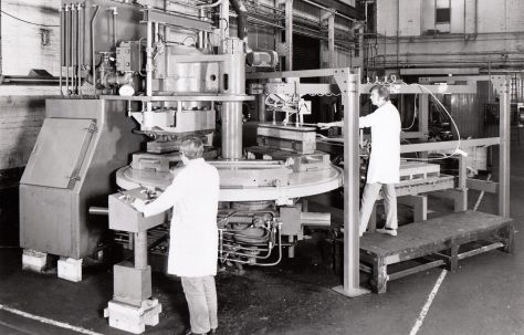 Three-Mould Two-Column Concrete Press with Kerb Handling Gear, O/No. K77400, c.1970