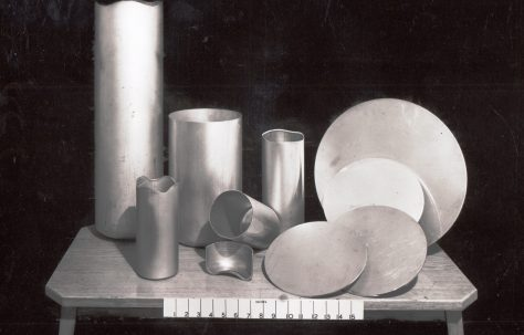 A selection of closed-end Aluminium containers, c.1970