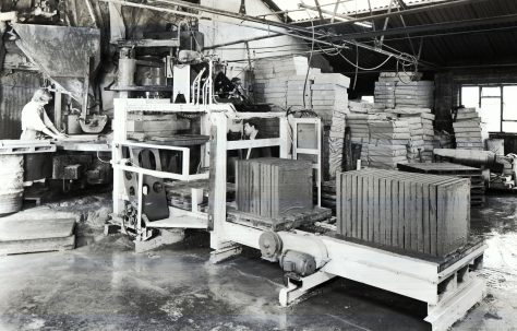 Automated Vertical Edge Stacking gear, with Three-Mould Press, views taken on site, c.1970