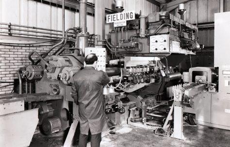 900 ton Horizontal Extrusion Press, views taken on site in 1971, O/No. E76970, c.1970