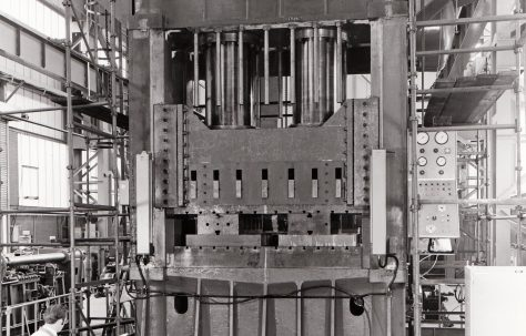 2000 ton Vertical Downstroking Press under construction in the new fitting shop, O/No. V77990, c.1971