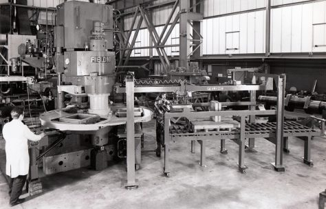 Three-Column, Three-Mould Slab Press with Take-off Unit, view taken in 1972, O/No. K81740, c.1971