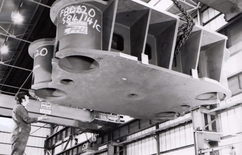 2000 ton Four Column Pull-Down Press, under construction in the new fitting shop, O/No. F80620, c.1972