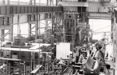 275 ton Pushbench, under construction in the new fitting shop, O/No. X78010, c.1972