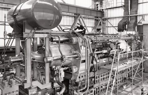 2500 ton Extrusion Press with Inboard Piercer for copper tube, under construction in the new fitting shop, O/No. E83100, c.1973