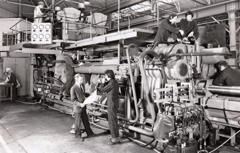 1600/80 ton Hydrostatic Extrusion Press, under construction in the works, O/No. E83600, c.1973