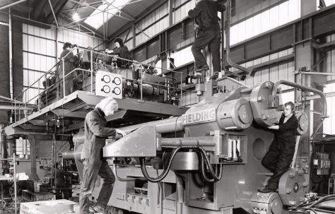 2000 ton Horizontal Extrusion Press with Die Shuffle, views taken under construction and during commissioning on site, O/No. E77210, c.1974