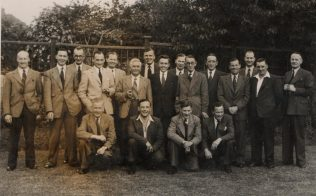 A Skittles Event, Northfield Vaults. Roy Barton, Doug White, Harold Beard, Bill Meadows, ?, ?, ?, Eric Blackwell, Ken Lane, George Collingbourne, ?, Bert Gillespie, Henley Green, & the Lanndlord Front row, Tom Burden, ?, ?,  Bill McIntyre.