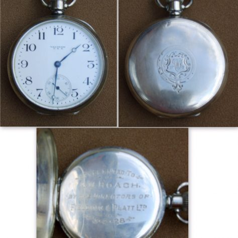 Silver watch presented to Alfred by Frank Fielding in 1928