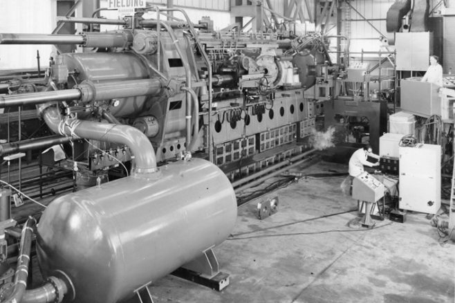 2500 ton Extrusion Press with Inboard Piercer for copper tube, under construction, O/No. E78250, c.1971 | Gloucestershire Archives