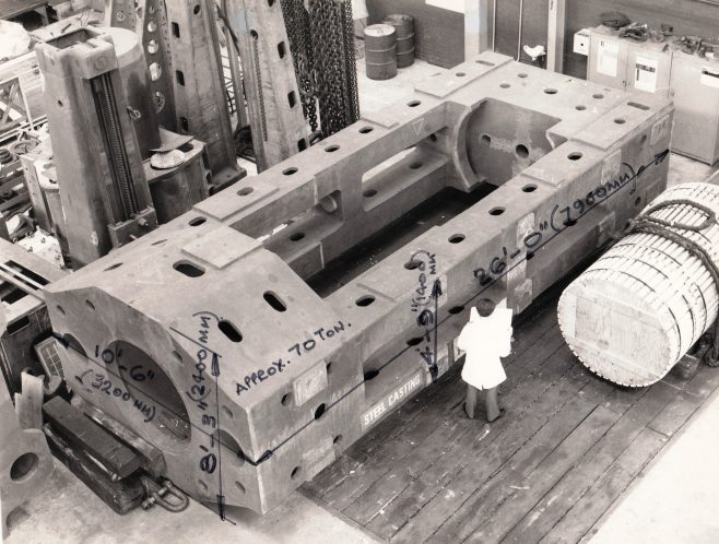 Photo 7457   70 ton steel casting awaiting machining on the Asquith 5RM borer | CF 002 Supplied by Clive Forster