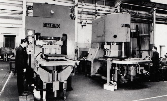 Concrete slab presses, 1966 (click on the image above to enlarge it) | D5926, Gloucestershire Archives