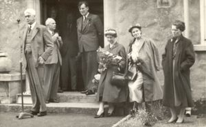 This photo was taken on 7th June 1958, when W S Morrison, our MP and Speaker of the House of Commons, came to open the Parents' Association Fete. Behind him is A L Horne, Chairman of the Governors, and A L Jones, the Headmaster. I am on the far right, next to Mrs Horne and Mrs Morrison.