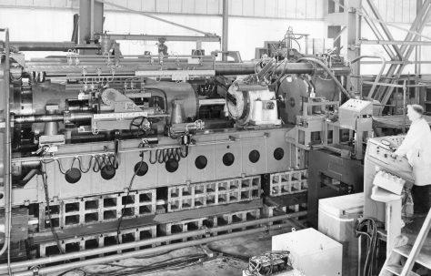 2500 ton Extrusion Press with Inboard Piercer for copper tube, under construction, O/No. E78250, c.1971