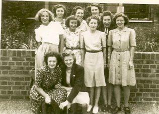 This photograph was taken outside the office at Fielding & Platt in June 1947.  Reading L to R.  Back row: Joan Scattergood, Joyce Broady, Jean Aitken, Middle row: Jean Stephens, Maude Workman, Jean Carter, Lilian Maly, Doris Harding, and Front row: Marjorie Trueman, Jean Hebberd.